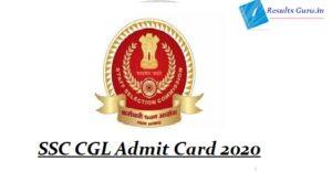SSC CGL Admit Card 2020